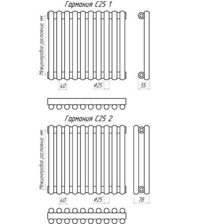Дизайн-радиатор KZTO Гармония С25-2